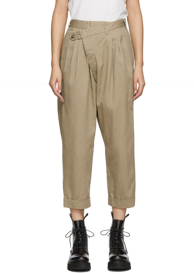 R13 Tan Triple Pleat Cross-Over Trousers