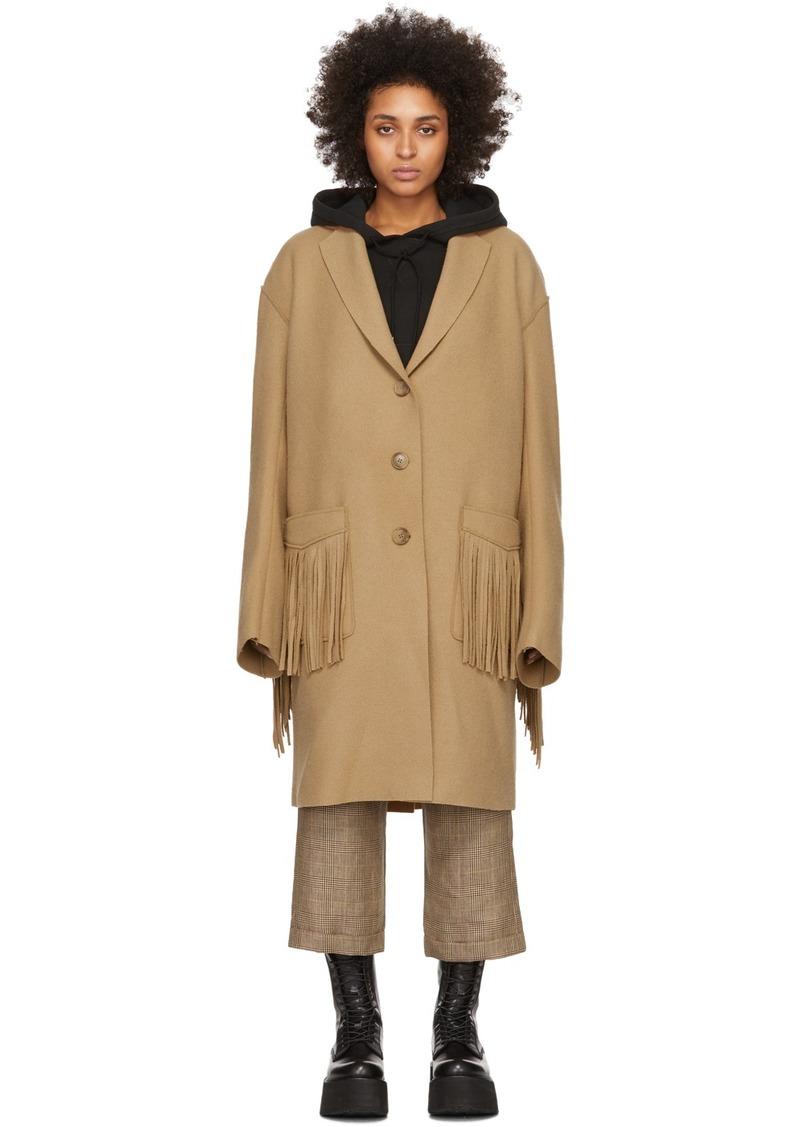 R13 Tan Wool Fringe Raw Cut Coat
