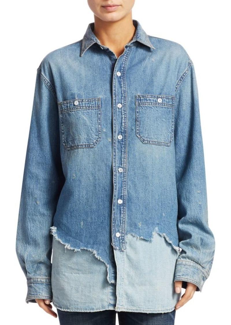 80d431a9f55 On Sale today! R13 Tattered Hem Denim Shirt