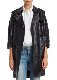 R13 Three-Quarter Sleeve Leather Trench Coat