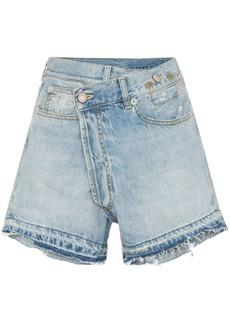 R13 Tilly cross-over fray hem denim shorts