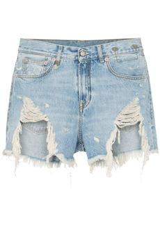 R13 Tilly shredded slouch denim shorts