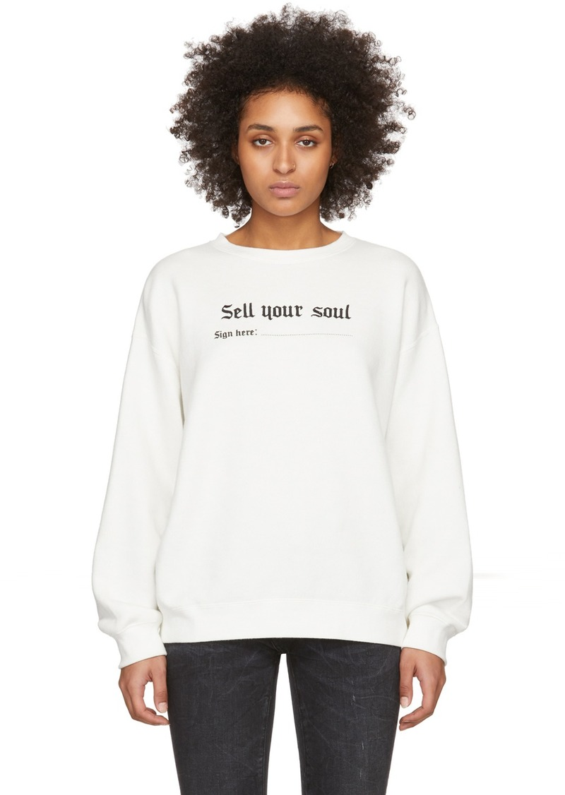 R13 White 'Sell Your Soul' Sweatshirt