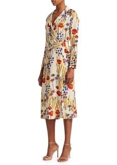 Rachel Comey Cactus Flower Silk Sunder Belted Sheath Dress