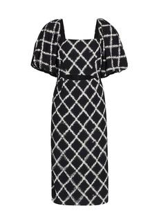 Rachel Comey Limbara Puff-Sleeve Plaid Midi Dress
