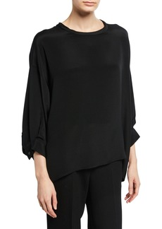 Rachel Comey Fond Ruched Short-Sleeve Blouse