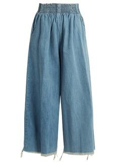 Rachel Comey Frayed-hem high-rise wide-leg denim culottes