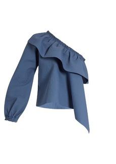 Rachel Comey Georgia asymmetric-ruffled cotton-blend top