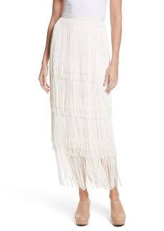 Rachel Comey Gyre Tiered Fringe Silk & Linen Skirt