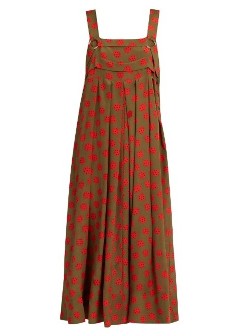 Rachel Comey Paw Print Silk Crepe Midi Dress Dresses