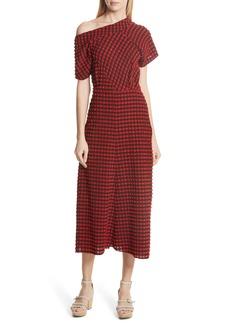 Rachel Comey Pout Gingham One-Shoulder Midi Dress