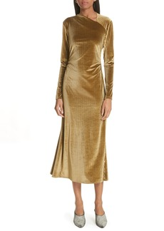 Rachel Comey Ruched Velvet Jacquard Midi Dress