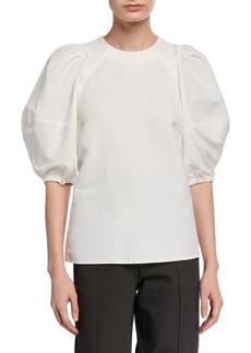 Rachel Comey Sambuco Puff-Sleeve Linen Top