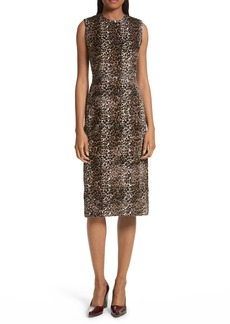 Rachel Comey Sling Cheetah Faux Fur Sheath Dress