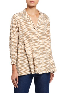 Rachel Comey Yuca Wavy Stripe Button-Down Top