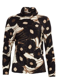 Rachel Comey Rumor Floral Silk Turtleneck Top