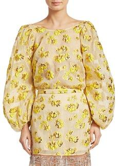 Rachel Comey Swoop Floral Jacquard Blouse