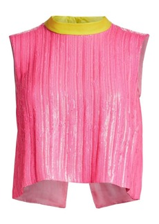 Rachel Comey Una Button Sequin Crop Top