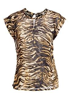 Rachel Comey Variance Tiger Print Linen Top