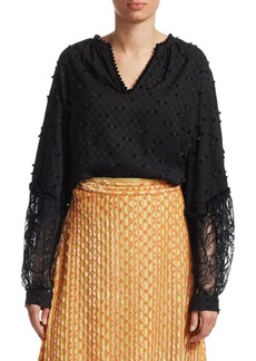 Rachel Comey Waver Lace Combo Long Sleeve Top
