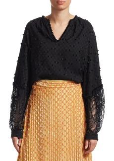 Rachel Comey Waver Lace Combo Long Sleeve Top
