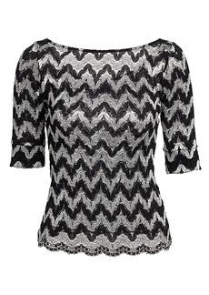 Rachel Comey Zig-Zag Squiggle Lace Knit Bateau Top