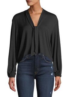 Rachel Pally Amelie V-Neck Sash Tie Long-Sleeve Cropped Jersey Top  Plus Size