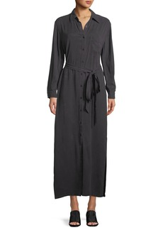 Rachel Pally Button-Front Garment-Dye Twill Long Shirtdress w/ Belt