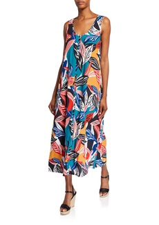 Rachel Pally Danni Printed Sleeveless Button-Front Crepe Dress