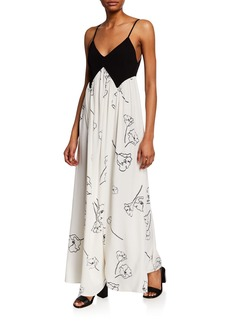 Rachel Pally Dianna Two-Tone Spaghetti-Strap Maxi Dress