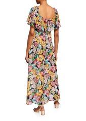 Rachel Pally Eden Floral-Print Short-Sleeve Chiffon Ruffle Dress