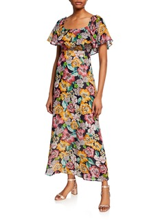 Rachel Pally Eden Floral-Print Short-Sleeve Chiffon Ruffle Dress