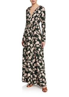 Rachel Pally Floral-Print Long-Sleeve Jersey Caftan Dress