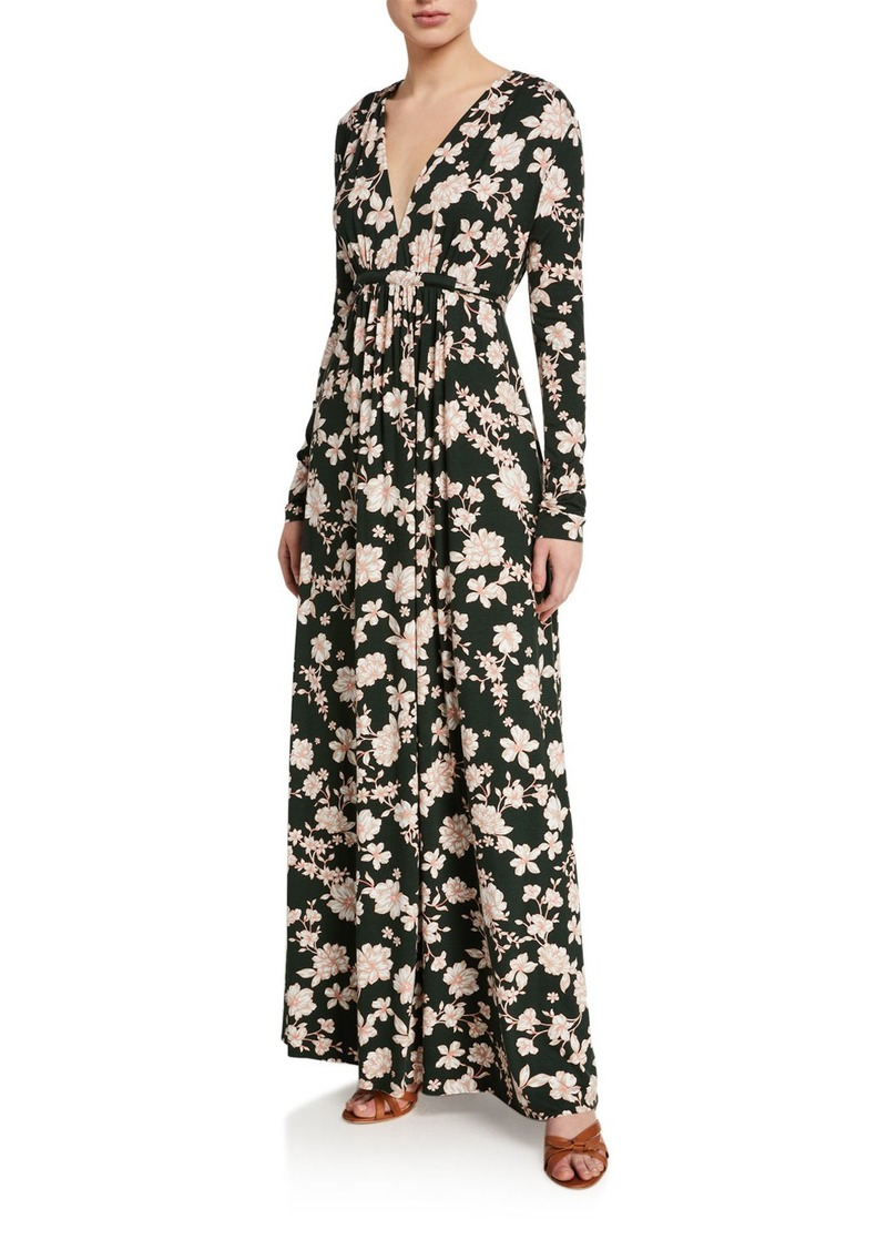 Rachel Pally Floral-Print Long-Sleeve Jersey Caftan Dress