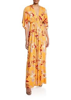 Rachel Pally Floral-Print V-Neck Kimono-Sleeve Caftan Dress