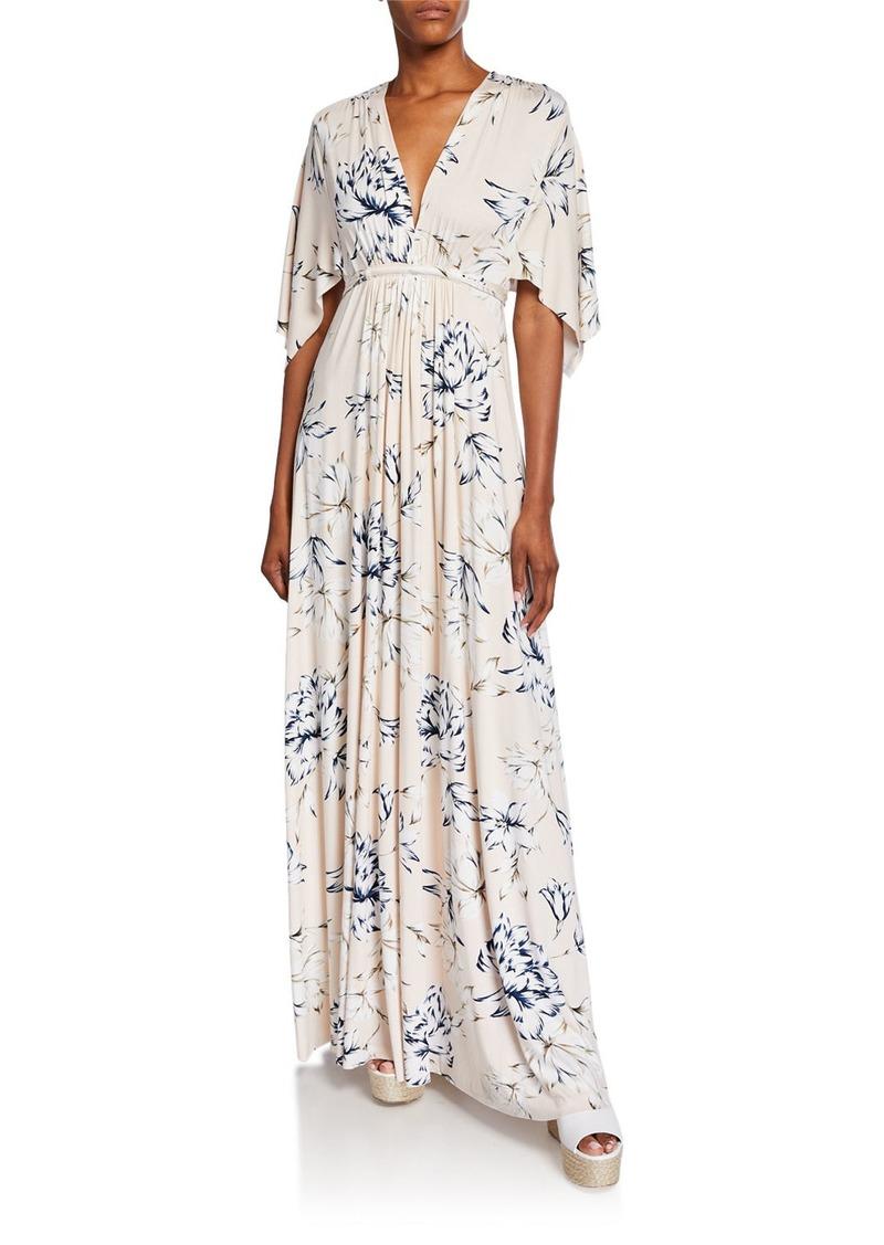 349738fb7b8 Rachel Pally Floral-Print V-Neck Short-Sleeve Long Caftan Dress ...