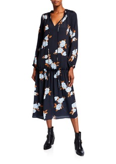 Rachel Pally Gail Floral Blouson-Sleeve Drop-Waist Crepe Midi Dress