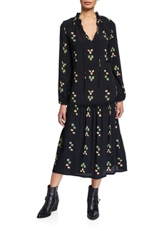 Rachel Pally Gail Printed V-Neck Blouson-Sleeve Drop-Waist Dress
