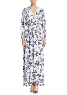 Rachel Pally Greenwich Long-Sleeve Paisley Wrap Maxi Dress