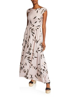Rachel Pally Kerry Leaf-Print V-Neck Sleeveless Maxi Dress