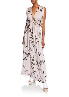 Rachel Pally Kerry Leaf-Print V-Neck Sleeveless Maxi Dress