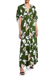 Rachel Pally Long Floral-Print Jersey Caftan Dress
