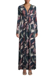 Rachel Pally Long-Sleeve Feather-Print Long Caftan Dress