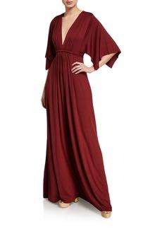 Rachel Pally Plunge-Neck Dramatic-Sleeve Jersey Caftan Dress