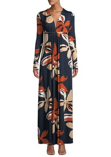 Rachel Pally Plunging-Neck Long-Sleeve Floral-Print Jersey Long Dress