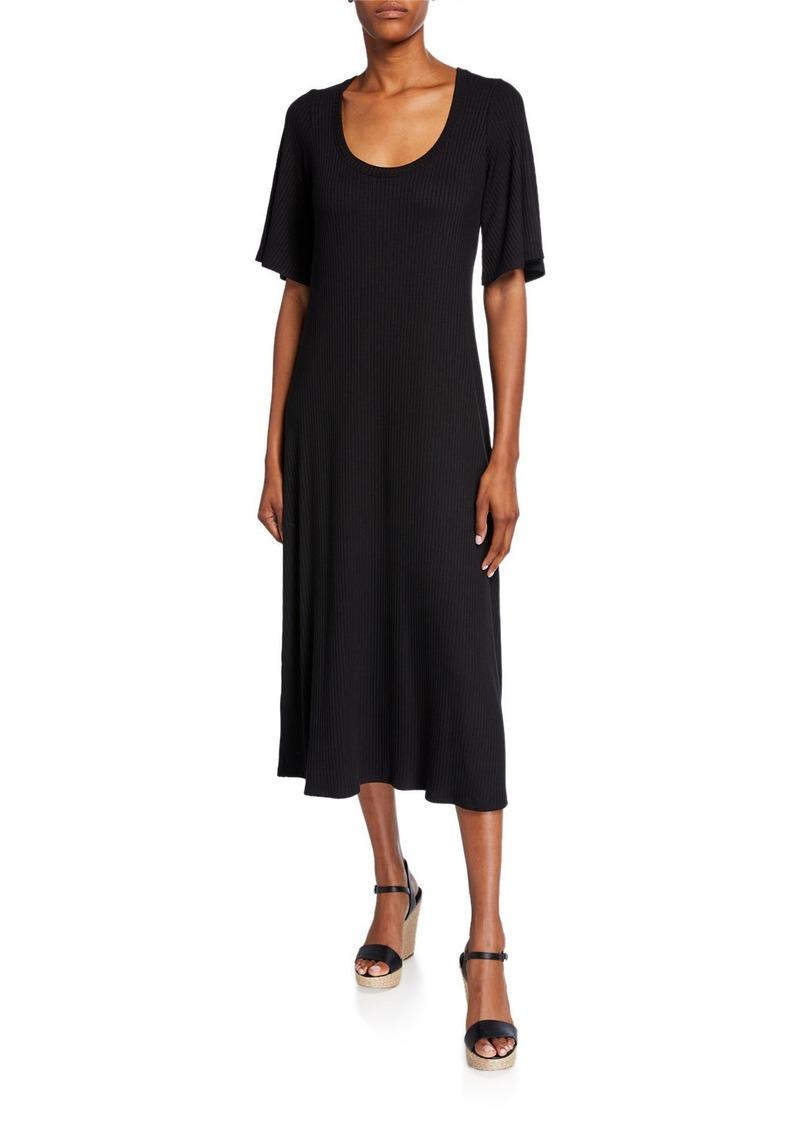 Rachel Pally Plus Size Felice Scoop-Neck Short-Sleeve Ribbed Midi Dress