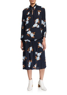 Rachel Pally Plus Size Gail Floral Blouson-Sleeve Drop-Waist Crepe Midi Dress