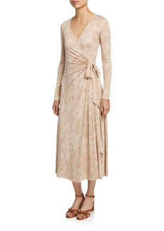 Rachel Pally Plus Size Harlow Snake-Print Long-Sleeve Jersey Midi Wrap Dress