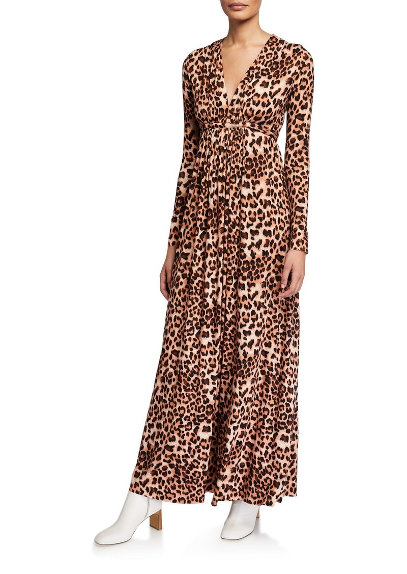 Rachel Pally Plus Size Leopard-Print Jersey Long-Sleeve Caftan Dress