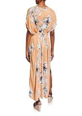 Rachel Pally Plus Size Rae Floral-Print V-Neck Short-Sleeve Belted Crinkle Dress